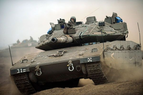 Israeli Merkava Mk4 tank equipped with the Trophy active protection system.