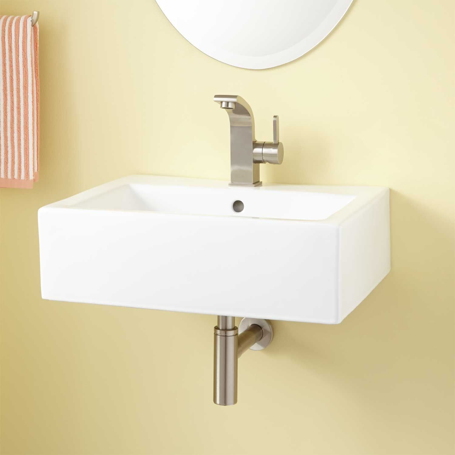Groesbeck Rectangular Porcelain Wall Mount Sink