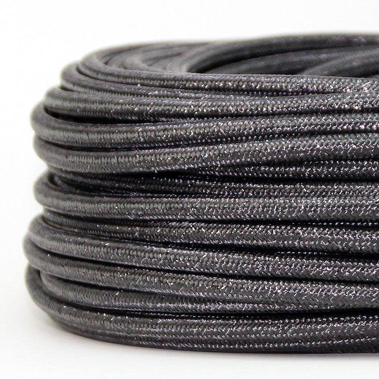 Textilkabel Stoffkabel Lampen-Kabel steingrau 3-adrig Elektro Stromkabel