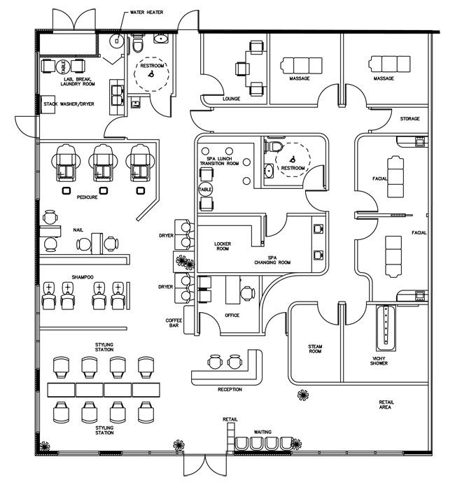 Beauty salon floor plan design layout 3375 square foot for New office layout design