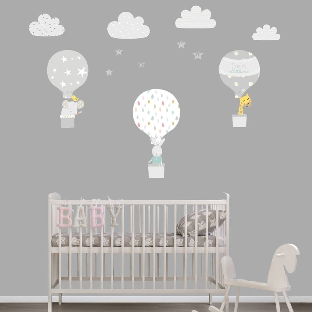 Grey Hot Air Balloon Fabric Wall Stickers Baby Baby