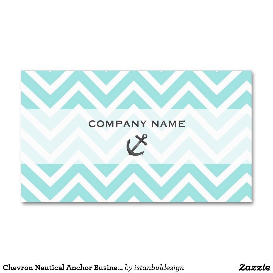 Chevron Nautical Anchor Business Card   Nautical Business Cards ...