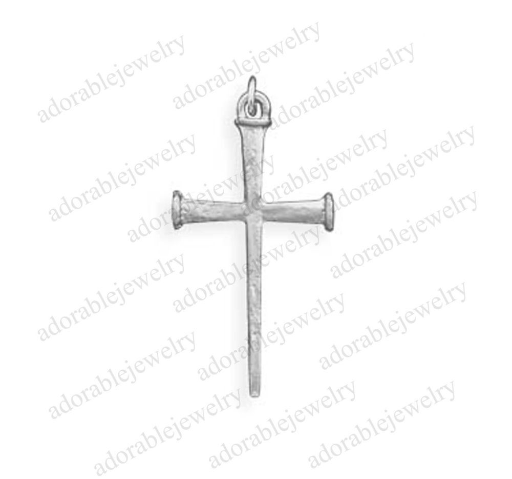Gorgeous 925 Sterling Silver Cross Of Nails Pendant