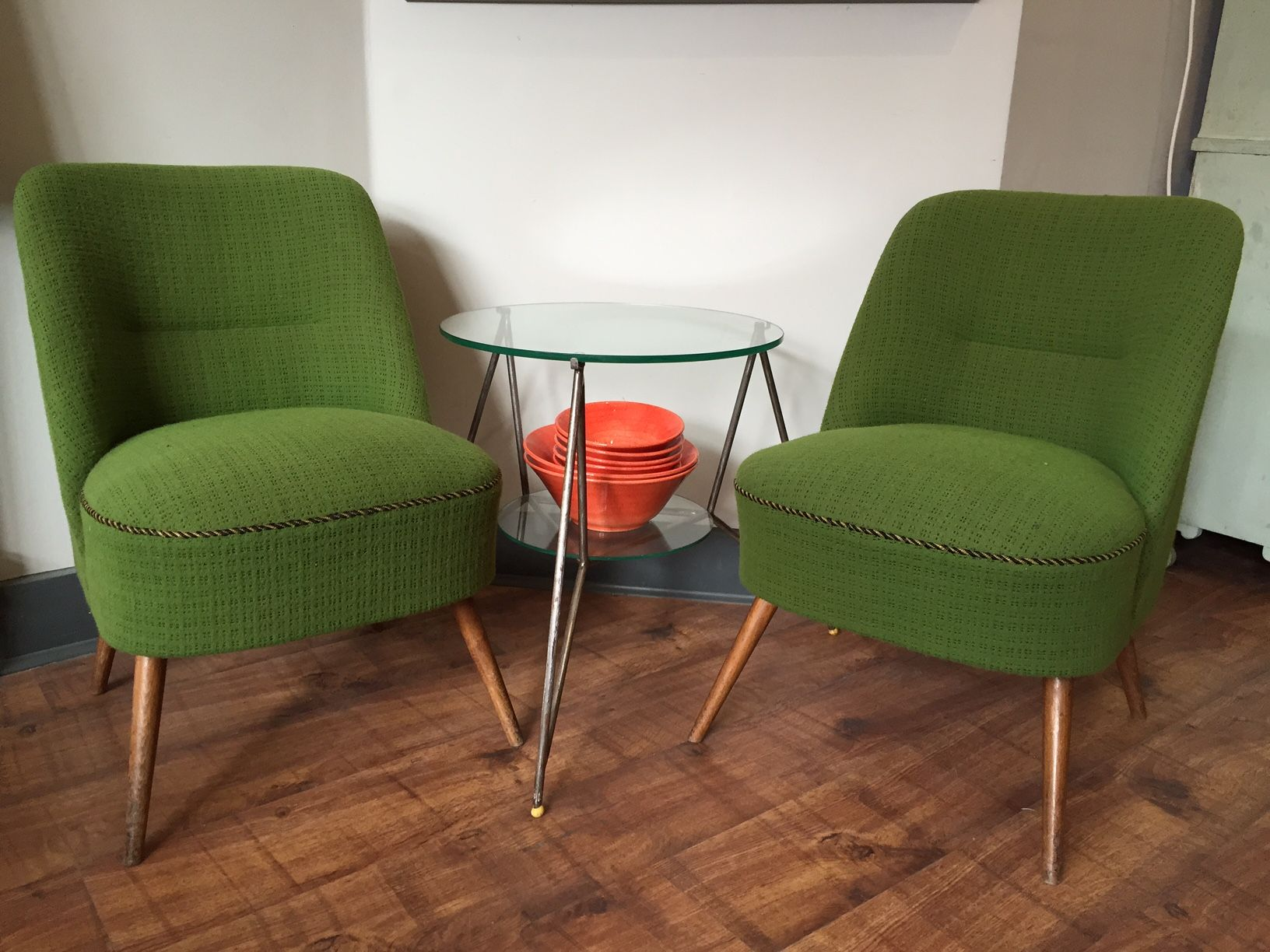 Charmant New Mid Century Occasional Chairs In Gorgeous Retro Pea Green Fabric. Four  Available, For