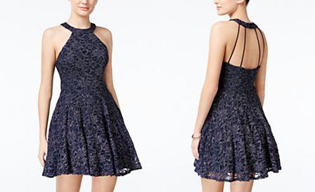6911f4c8 B Darlin Juniors' Glitter Lace Fit & Flare Dress   Dance   Flare ...