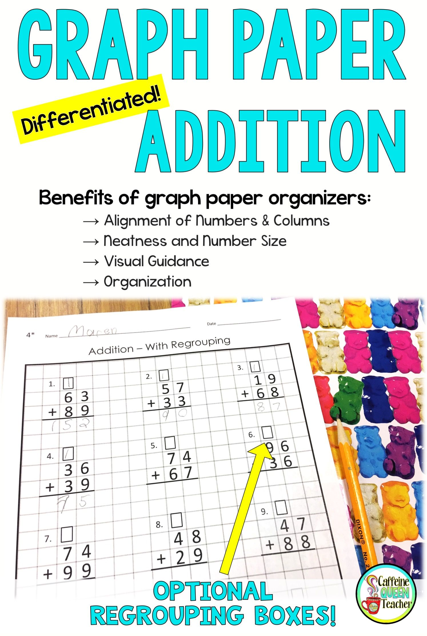 2 Digit Addition On Graph Paper Worksheets