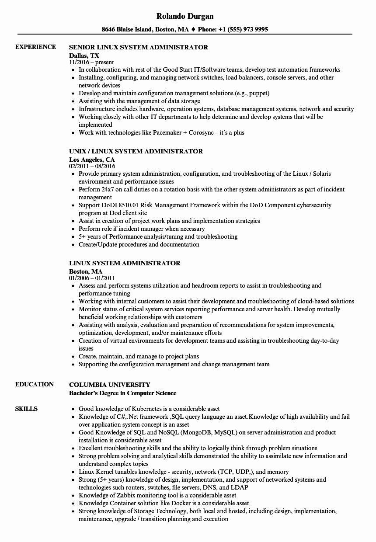 System Administrator Resume Examples Unique Linux System Administrator Resume Samples In 2020 Resume Objective Examples Good Resume Examples Engineering Resume