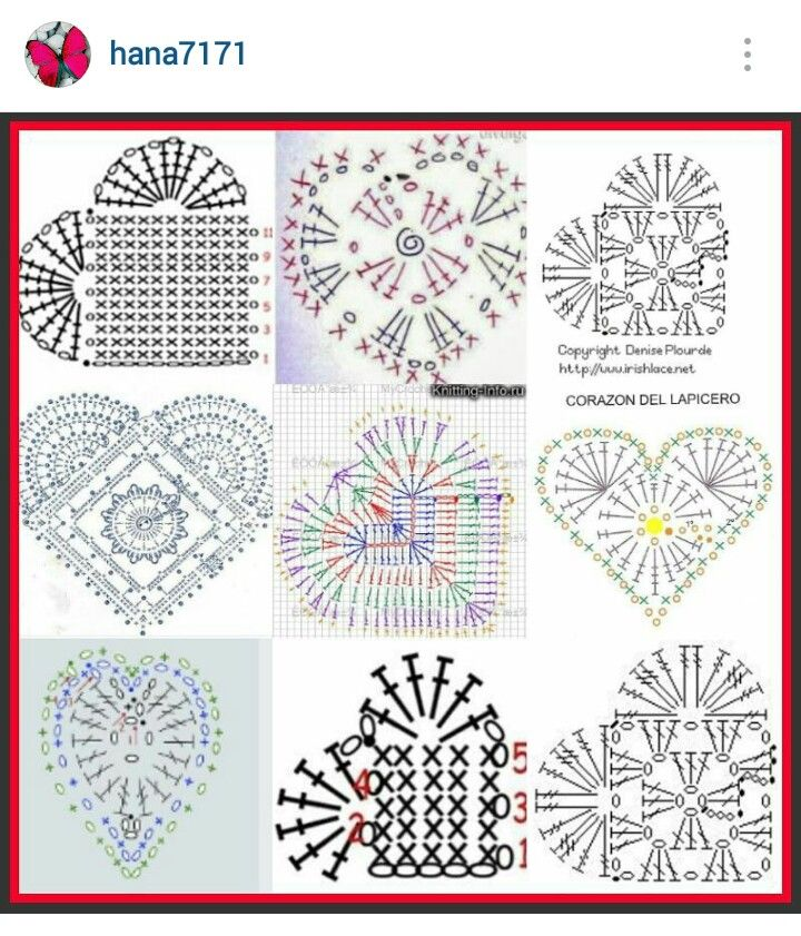 Instagram Hana7171 Crochet Hearts Pattern Diagrams Crochet