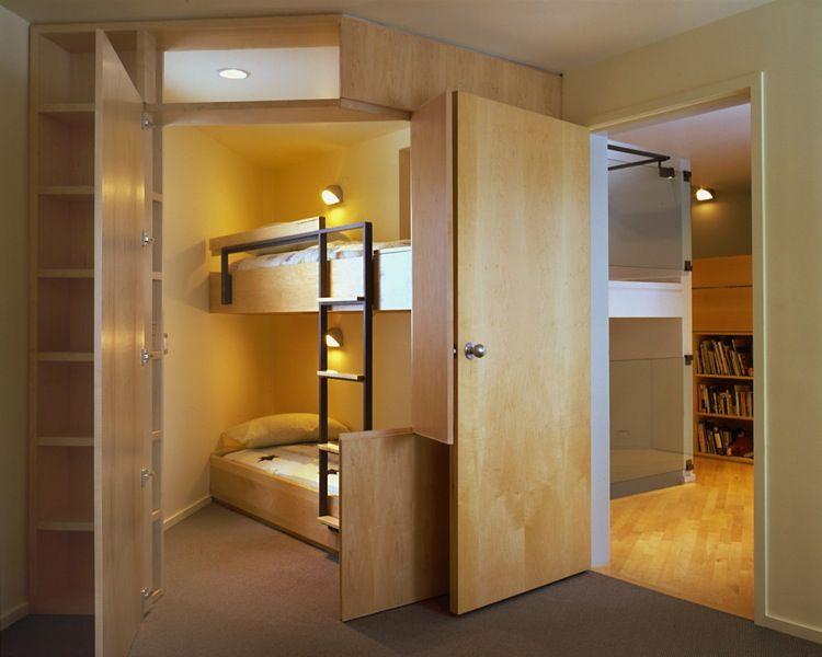 Awesome Hidden Bunk Beds, Cascade Lake House, E. Cobb Architects, Seattle WA