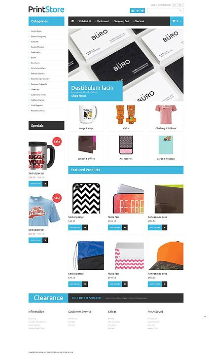 Print Site Opencart Webtemplate Themes Business Responsive Template
