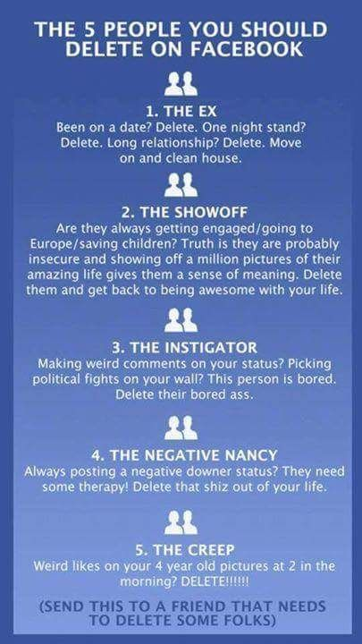 The Five People You Should Delete On Facebook       Or ANY Social