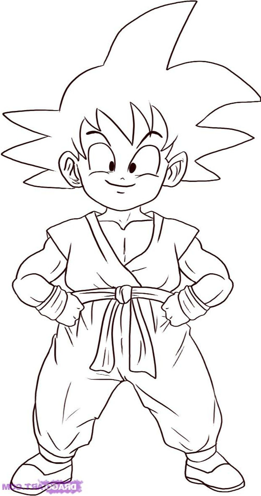Imagen de Goku niño para colorear | Dragon Ball Party