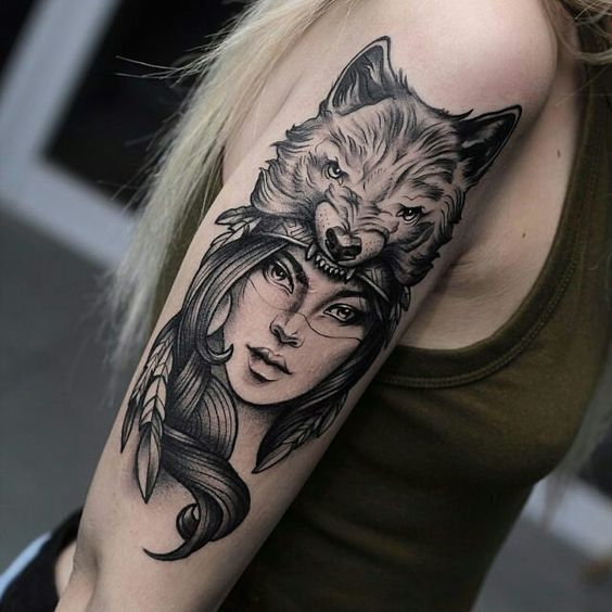 Wolf Woman Tattoo By Sergey Shanko: Tattoos, Tattoo Designs