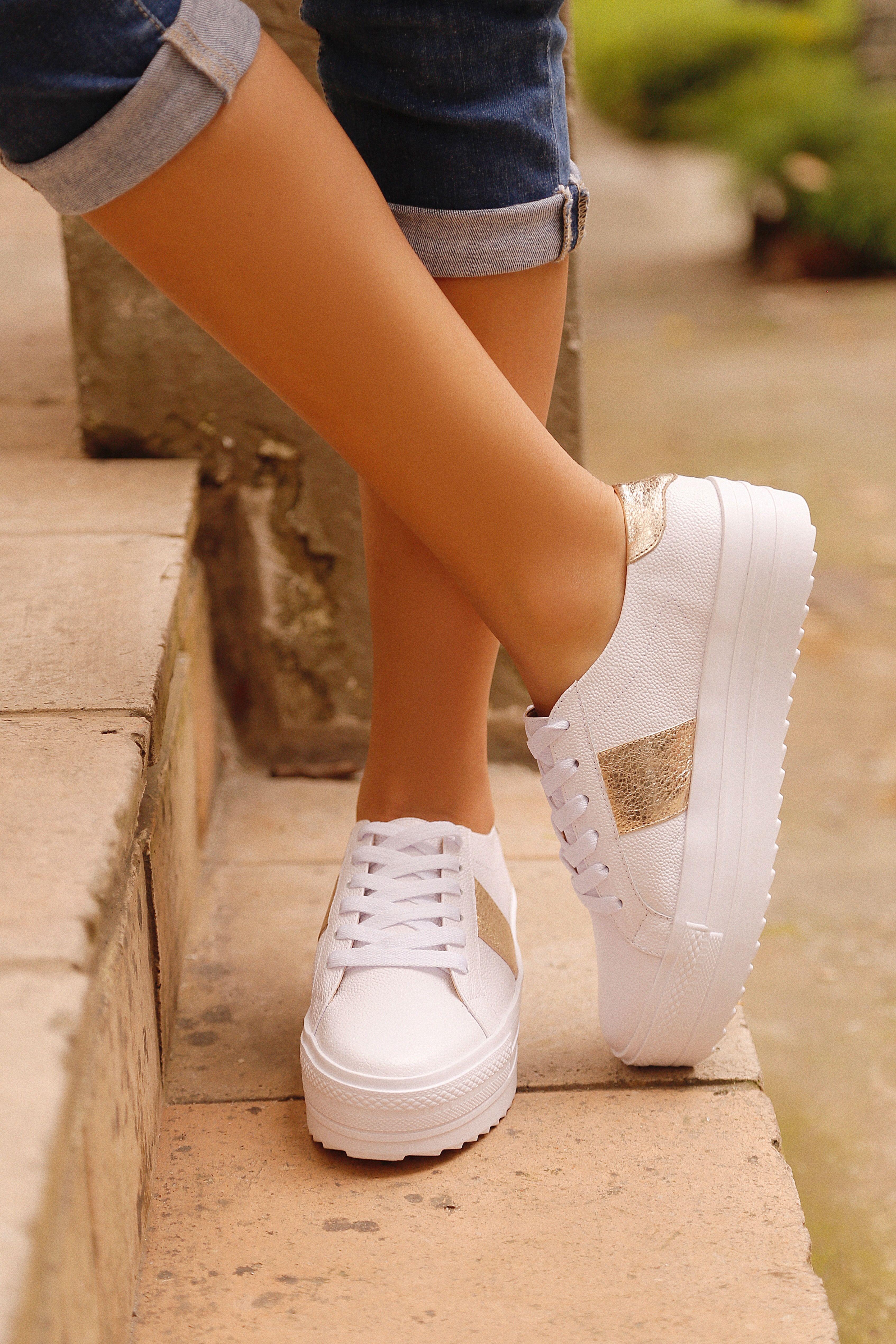 27462c163f Tenis Para Mujer en Cuero Blanco y Dorado - Tienda en Línea DFV Leather  Shoes