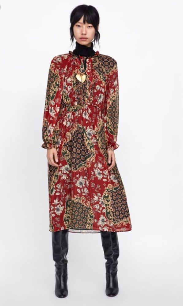 4070a706 Zara Printed Metalic Thread Dress Sold Out AW 2018 BLOGGERS FAV Size Medium  #fashion #clothing #shoes #accessories #womensclothing #dresses (ebay link)