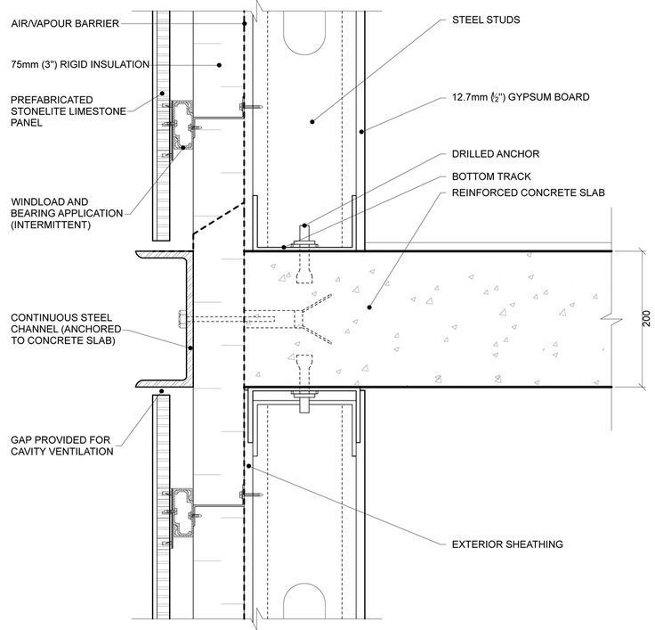 Steel Concrete Wall Detail Drawing Google Search Curtain Wall Detail Architectural Section Wall Section Detail