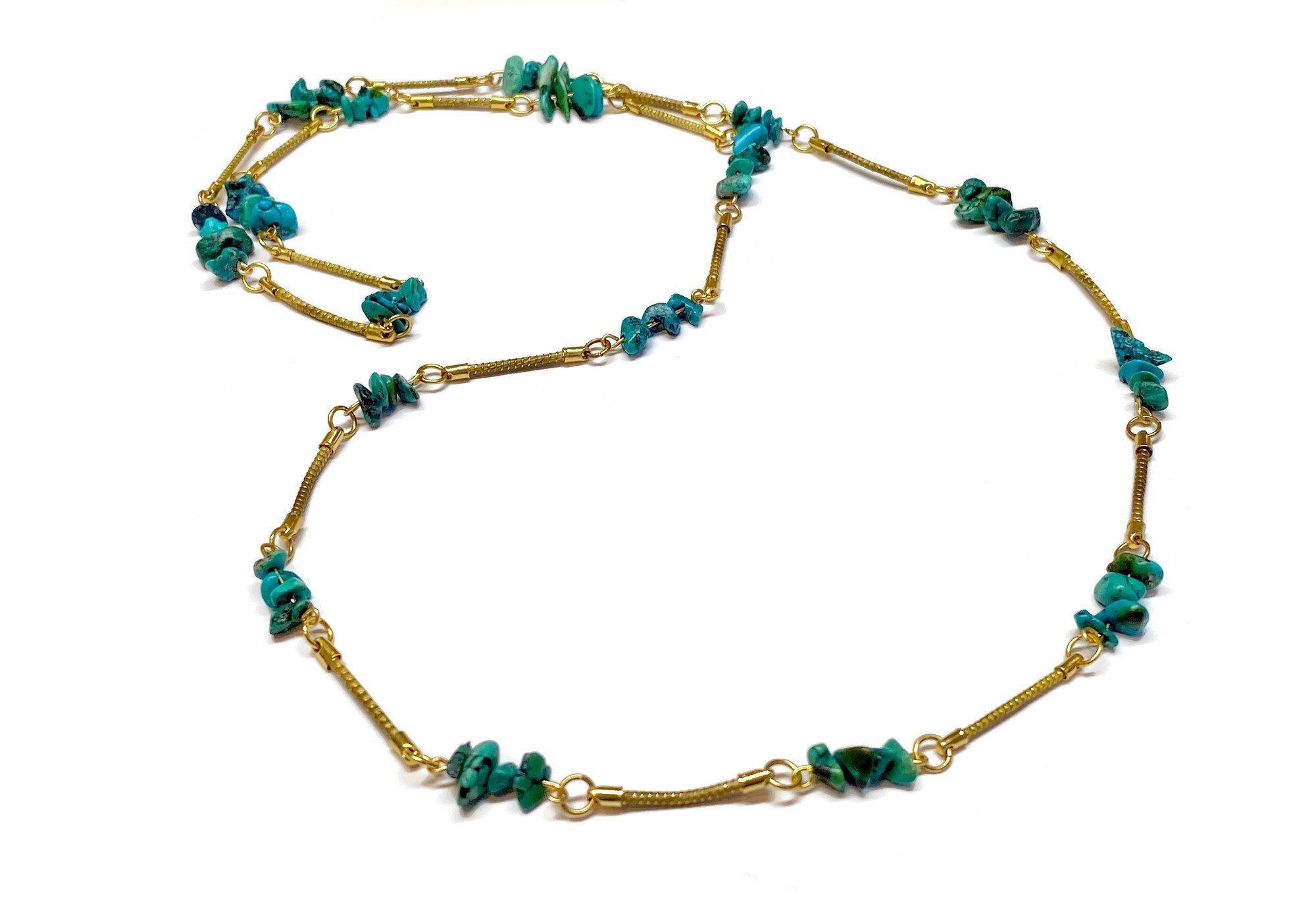 Photo of Lange Perlenkette, Casual Chick Halskette, Golden Grass, Türkis Halskette, Bio Halskette, Boho Halskette