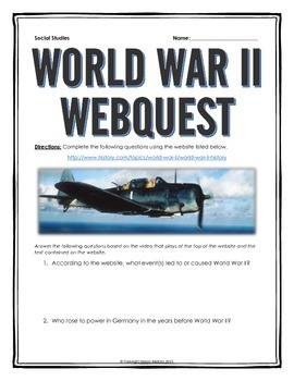 World War Two - Webquest with Key - This 12 page document contains a webquest and teachers key related to the history of World War Two. It contains 36 questions from the history.com website. Your students will learn about the overall history of World War Two. It covers all of the major people, themes and events of the history of World War Two.