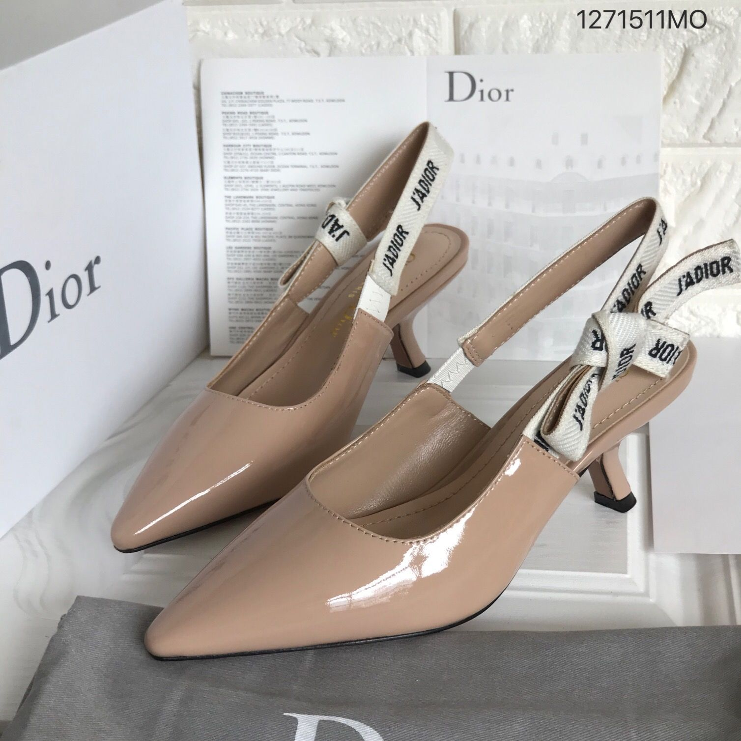 Christian Dior Woman Shoes Short Kitten Heels Sandals With Jadior Ribbon Strap Patent Leather Beige Kitten Heel Sandals Shoes Dior Shoes