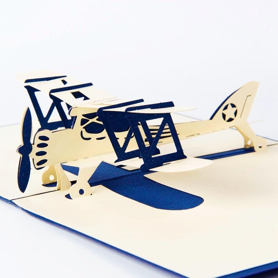 Красивые картинки, объемная открытка самолет шаблон