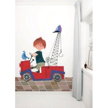 Behang Pluk van de Petteflet in zijn rode auto