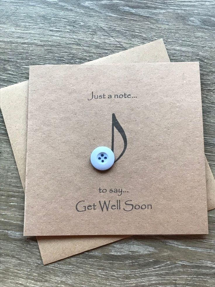 Excited to share this item from my #etsy shop: Music Note Button Art Get Well Soon Card #rusticcard #musicnote #musicgreetingcard #getwellsoon #getwellcard #thinkingofyou #getwellgift #feelbettergift