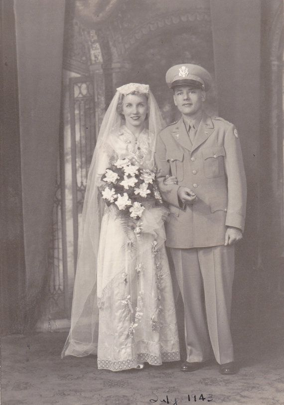 Beautiful Wartime Bride- Air Force Pilot Groom- WW2 Wedding- 1940s ...