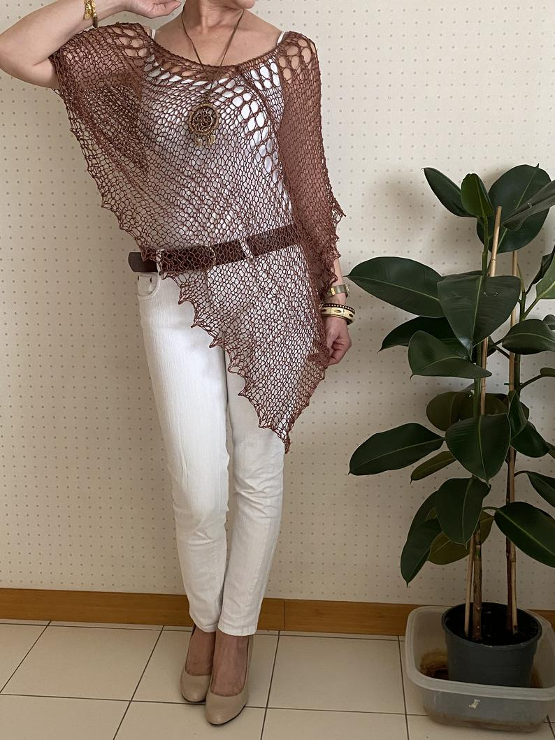Summer Cotton Poncho For Women Brown Chic Poncho Bohemian Etsy Shrug For Dresses Summer Cotton Poncho [ 1059 x 794 Pixel ]