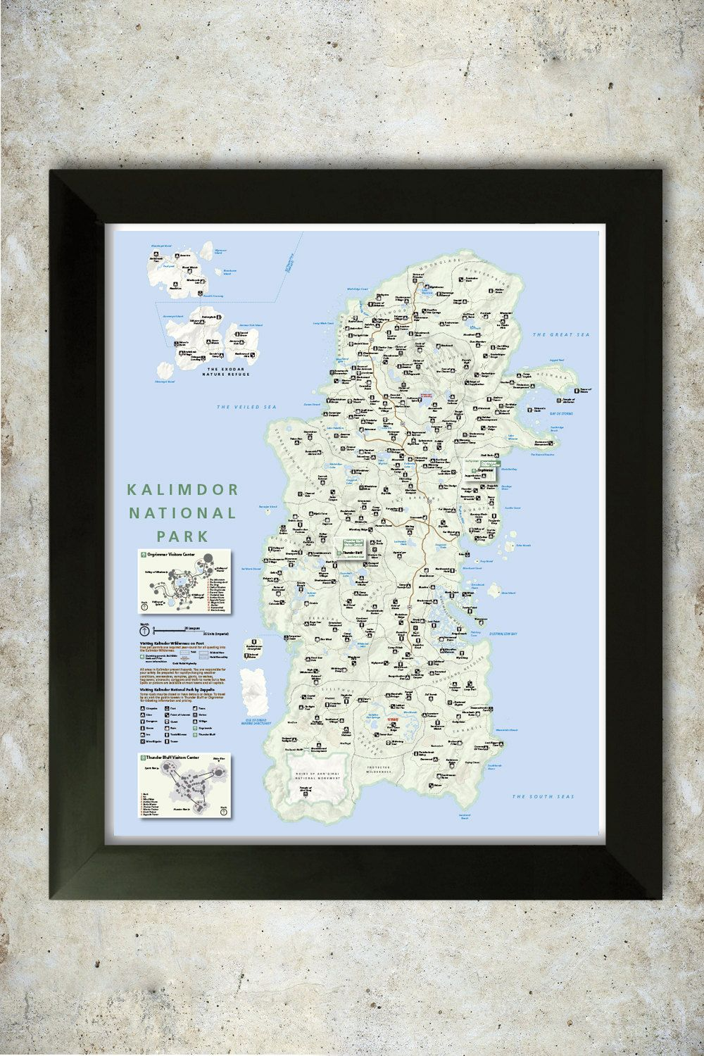 Design a 16x20 poster - Kalimdor Map National Park Style 16x20 Poster By Knerdkraft On Etsy