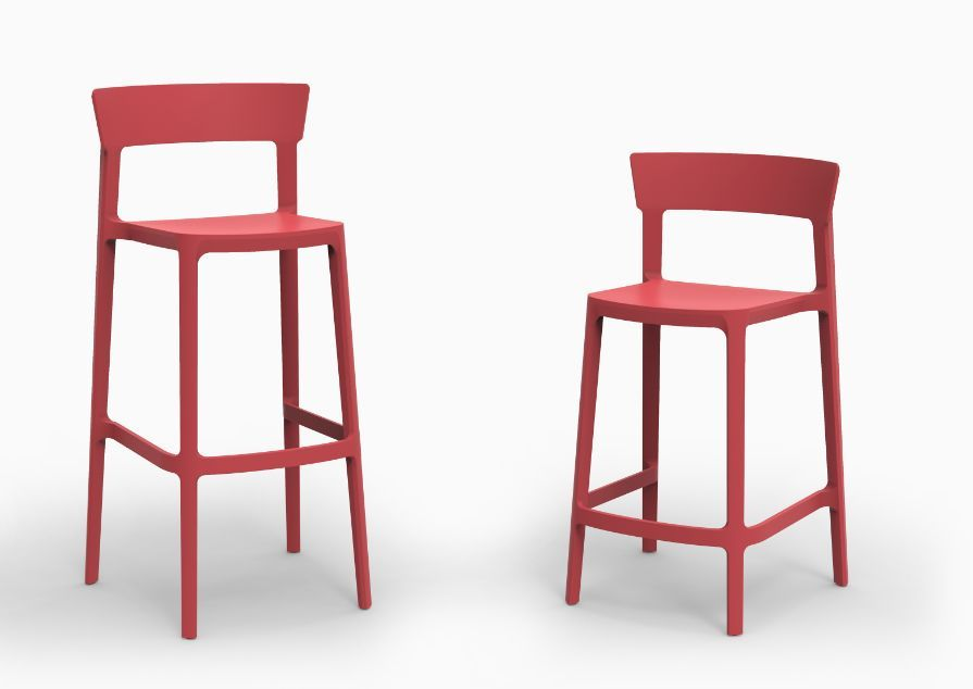 Calligaris - Tabouret de bar de couleur rouge design - Skin ...