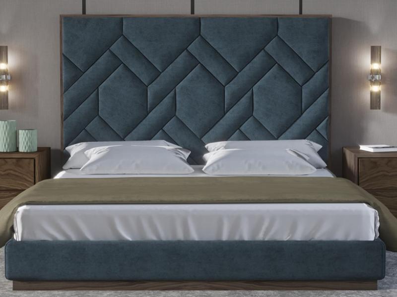 Dormitorio tapizado con con detalles en madera de nogal - Nogal americano muebles ...