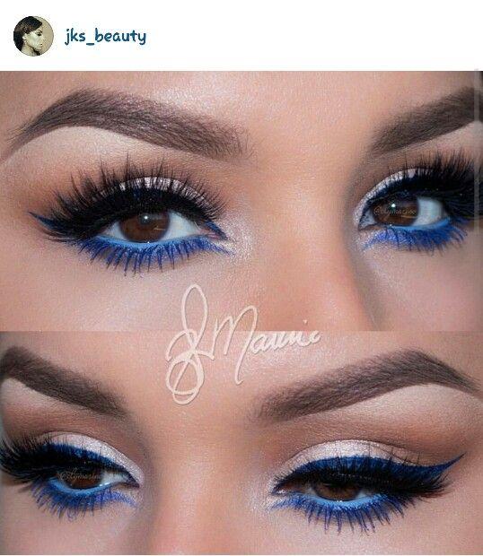 Smoky Eyes Brown Eyes Blue Eyeshadow Blue Eyeliner Blue