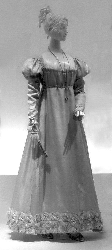 Grey silk regency dress gown