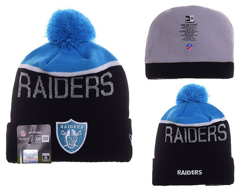 b7b4001e9 Mens   Womens Oakland Raiders New Era 2016 NFL Fashion Graphite Blue  Upright Sport Knit Beanie Hat With Pom Pom