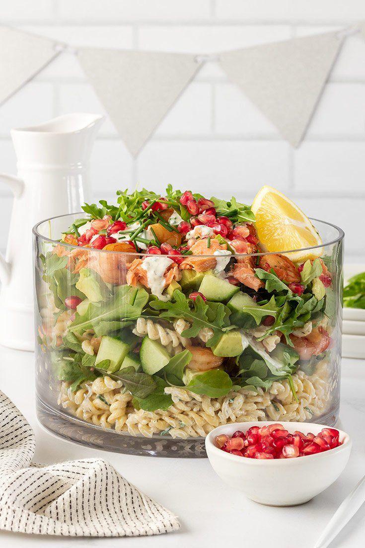 Layered salmon salad