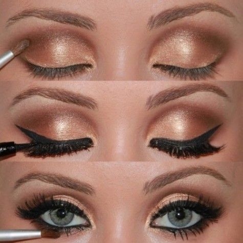 Get this look with Aloette Cosmetics Heavenly Sheen, Desert Heat and Mink eyeshadow, Black mechanical eyeliner, and our fabulous mascara!!  #aloette