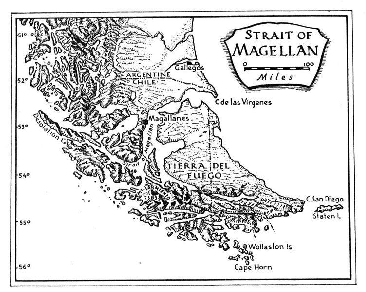 Strait Of Magellan Map Space Shuttle Challenger Crew Ferdinand