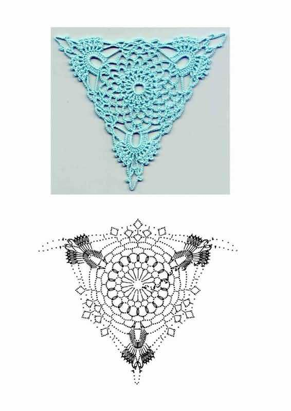 triángulos de ganchillo con esquema | Bufandas y gorros | Pinterest ...