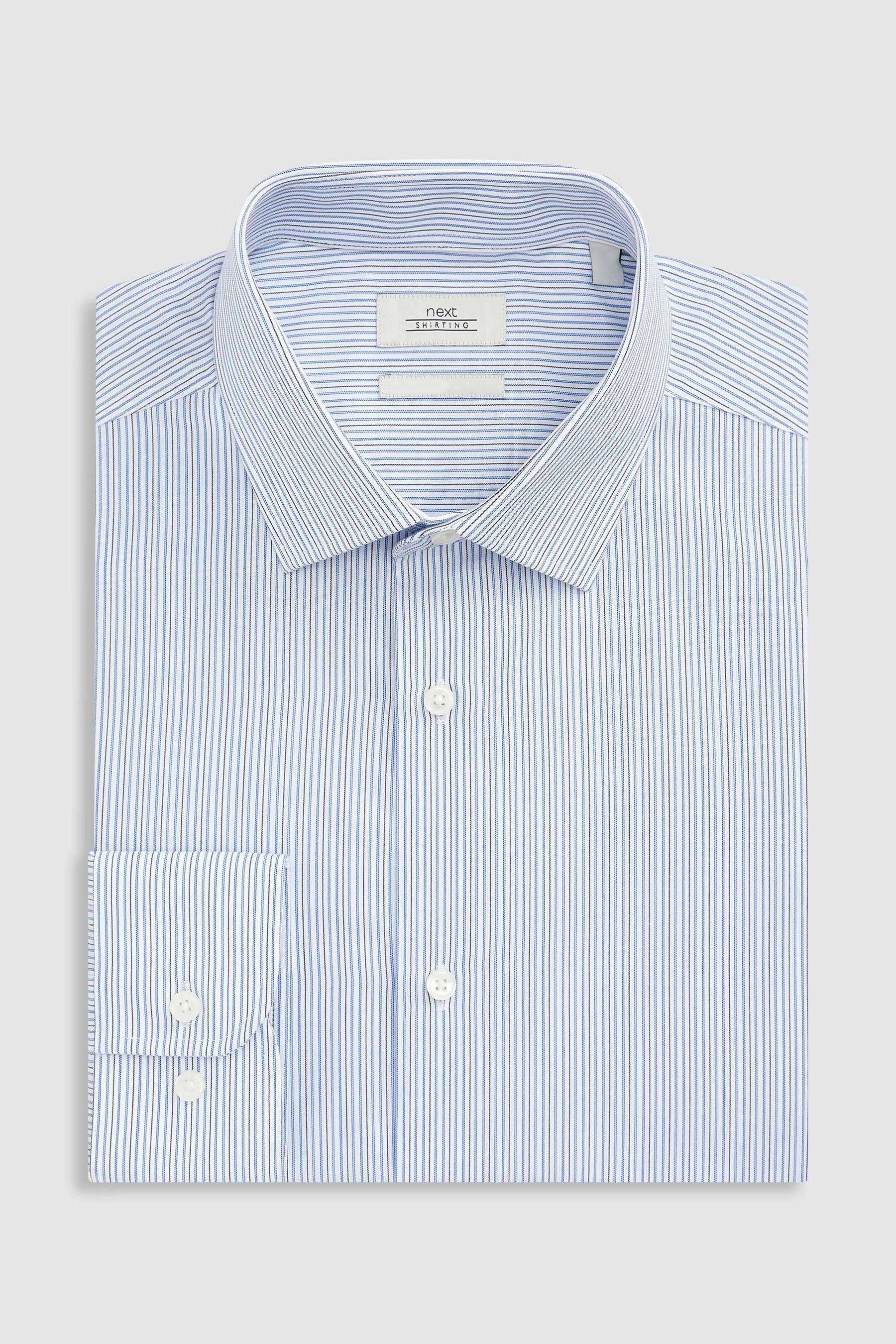 Mens Next Blue Fine Stripe Regular Fit Shirt Blue