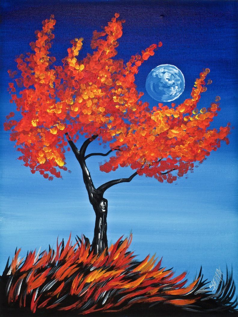 Cotton swabs painting fall tree for beginners basic easy for Fall paintings easy