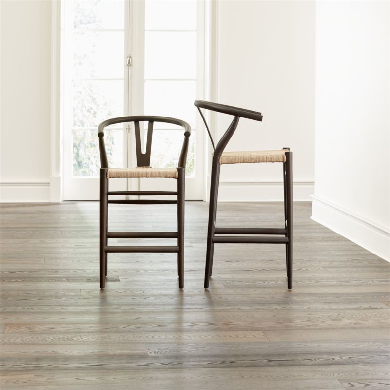 Crescent black rush seat counter stool modern counter