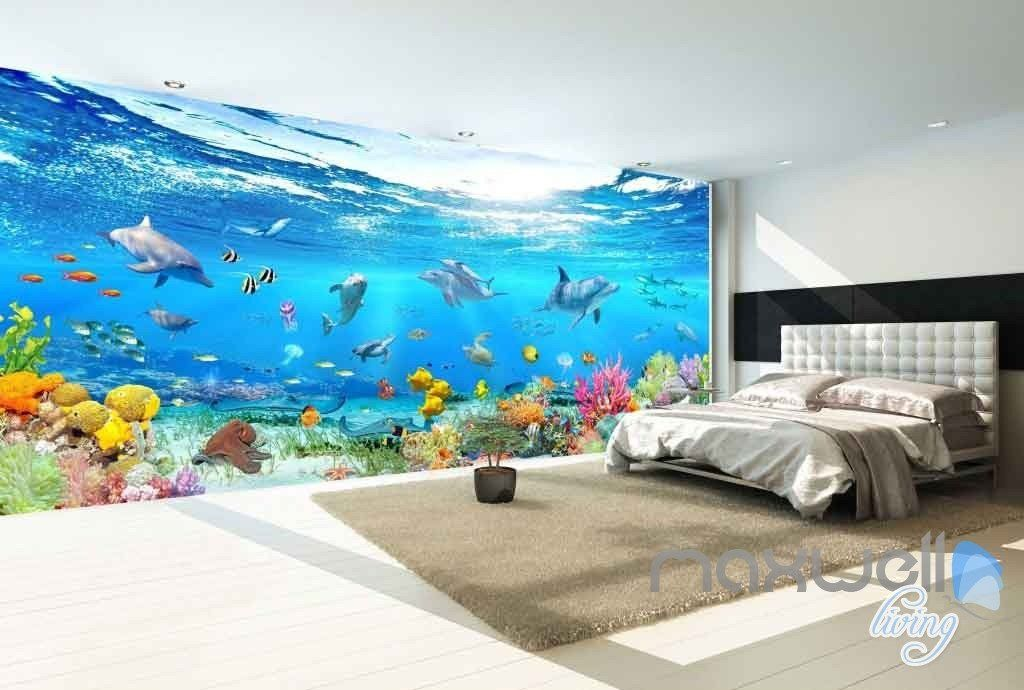 3d Aquarium Glass View Turtles Dophins Entire Room Wallpaper
