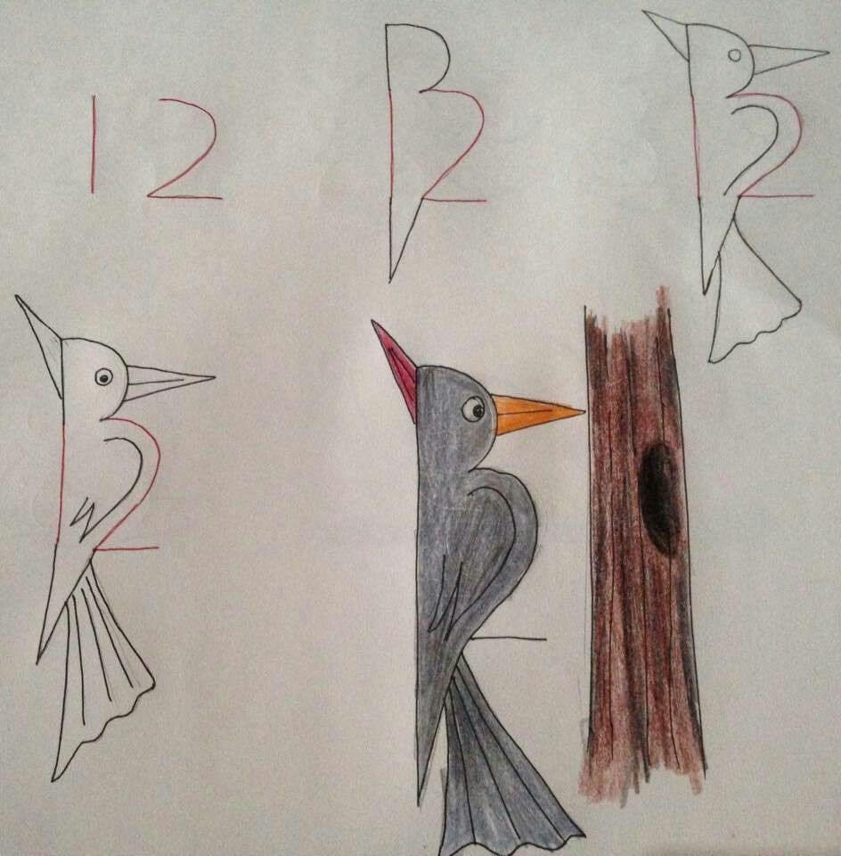 How To Draw Bird With Digit 12 Dad Drawing Art And Diy In 2019