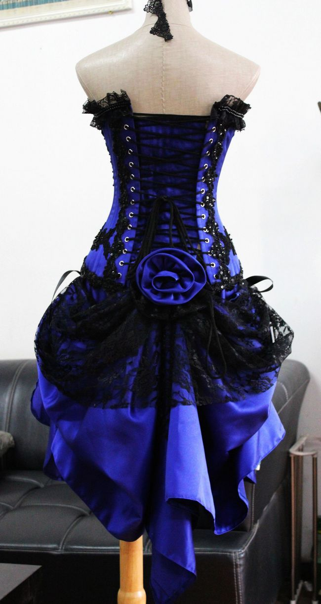 Sexy Womens Purple (looks blue to me) Corset Dress Burlesque ...