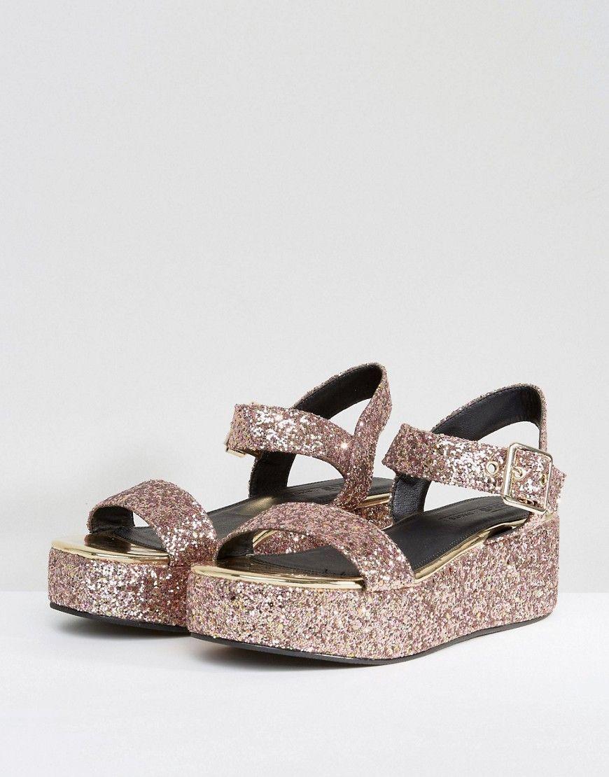 e9c35c9628ad ASOS TOUCAN Wedge Sandals - Pink