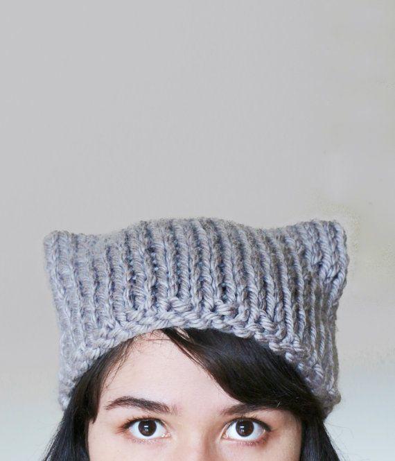 Cat Ear Knit Hat Beanie - Cat Ears Hat - Cat Hat - Winter Animal ...