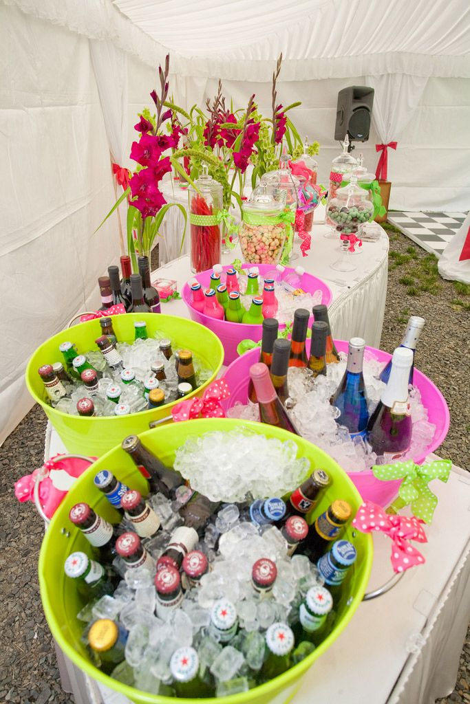 Grab you're own drinks buckets.    Image detail for -Serpentine tables for a wedding buffet
