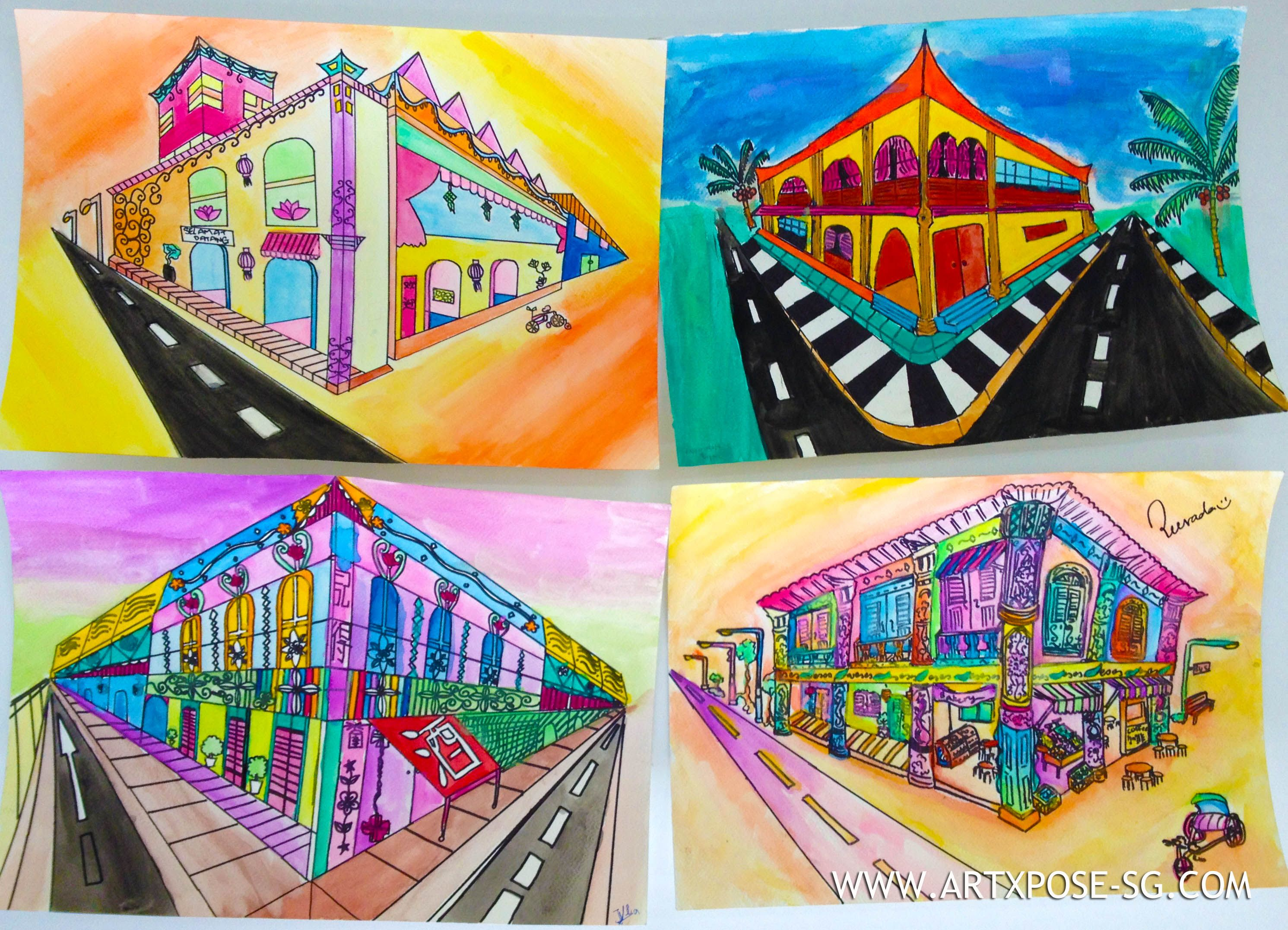 Two Point Perspective Building Color