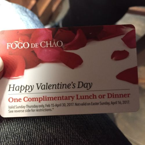 Coupons Giftcards Fogo De Chao Gift Card For One Complimentary Lunch Or Dinner Coupons Giftcards Gift Card Happy Valentines Day Cards