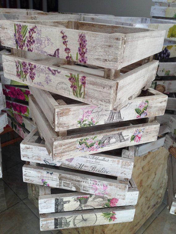 Resultado de imagen para ideas en madera para decorar - Como decorar cajas de madera estilo vintage ...